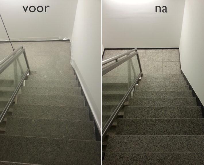 Natuursteen trap, voor en na het reinigen