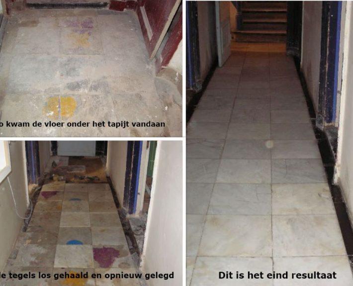 Intensieve renovatie van een authentieke Bianco Carrara vloer.